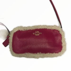 COACH pink leather shearling mini crossbody bag